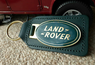 Land Rover Defender Range Discovery Enamelled Quality Green Leather Key Ring Fob