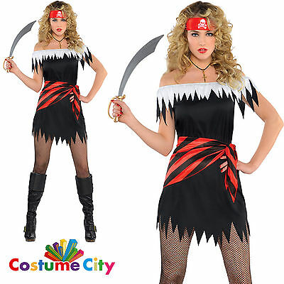 Adults Womens Ahoy Katie Pirate Buccaneer Fancy Dress Halloween Party Costume