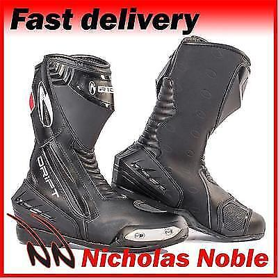 RICHA DRIFT Black WATERPROOF LEATHER SPORTS TOURING MOTORCYCLE BOOTS