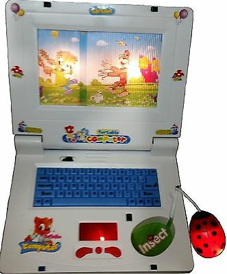 Kids Picture Animation Portable Laptop Computer Toy with Music Keyboard & Mouse