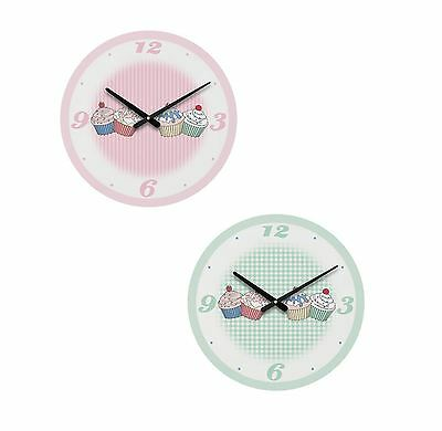 Wall Clock | Pink & Green Cupcake Design | Ideal for Homes Kitchens