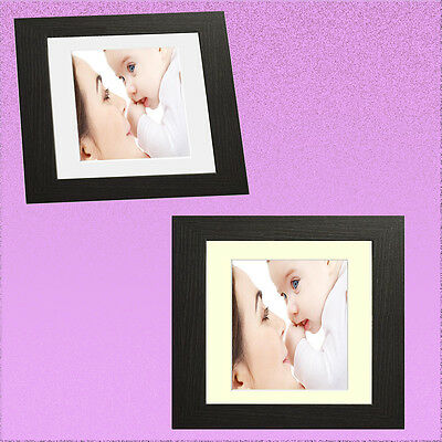 Black Square Picture Frame Photo Frame With Mount Cream & White Mounts