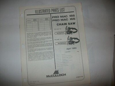 mcculloch chainsaw,pro mac 155/165 illustrated parts list,vintage chainsaw