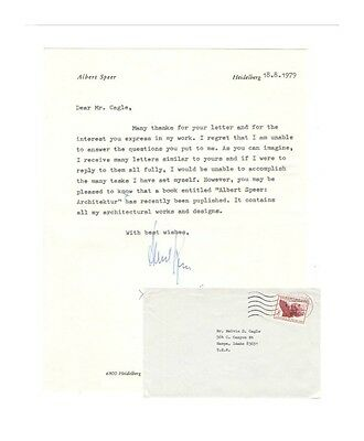 Albert Speer Autograph Typed Letter with Envelope - Very Clean!  Nice Price!