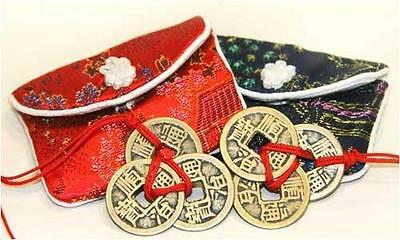 Chinese Feng Shui Lucky Coins with Brocade Pouches - 2 pieces