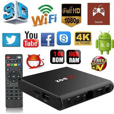 KODI 16.1 XBMC Quad Core Android 6.0 TV Box Fully Loaded Free HD Sports Movies