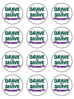 "12 x Macmillan Brave the Shave 2"" PRE CUT PREMIUM RICE PAPER Cup Cake Toppers"