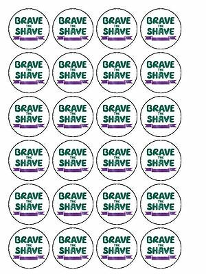 "30 x Macmillan Brave the Shave 1.5"" PRE CUT PREMIUM RICE PAPER Cup Cake Toppers"