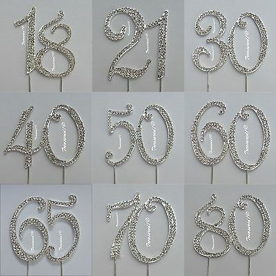 *Large Cake Pick Silver Topper Number Clear Rhinestone Diamante GEMS 18 21 30 40