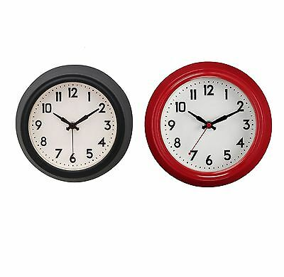 Vintage Wall Clock in Red & Black Metal Frame, Black Digits & Off White Face NEW