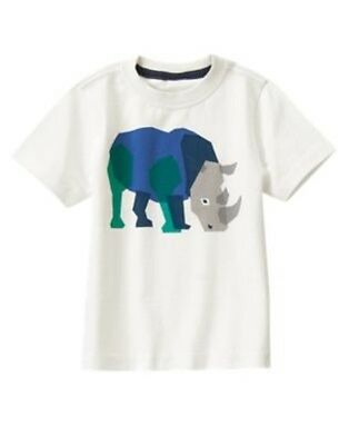 GYMBOREE SAFARI STRIPES IVORY w/ RHINOCEROS S/S TEE 6 12 18 24 NWT