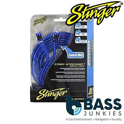 STINGER SI6217 BLUE 5m 17ft Car Stereo RCA to RCA Amp Amplifier Phono Cable Lead