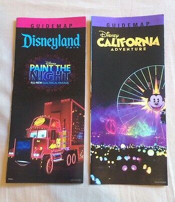 2015 California Disneyland Park Paint the night & Disney Adventure Guide Map New