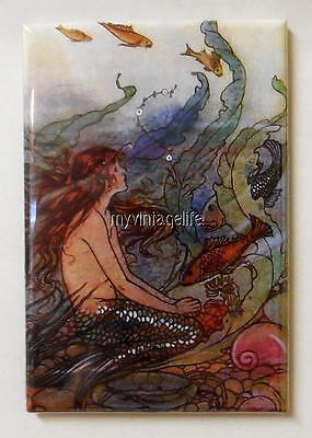 "Vintage Whimsy Mermaid & Fish 2"" x 3"" Fridge MAGNET"
