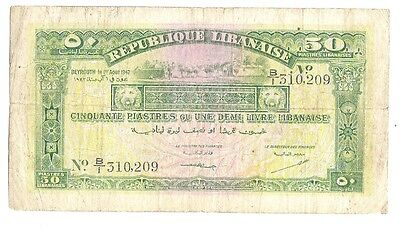 Lebanon 50 Piastres 1942 in (aVF) Condition P-37 RARE Banknote