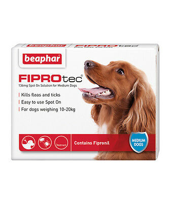 Beaphar FIPROtec Spot On for Medium Dogs, 6 X Treatment against Fleas and Ticks