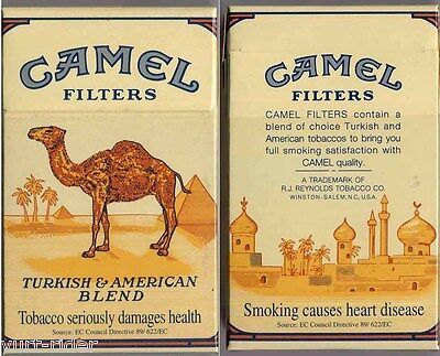 CAMEL FILTERS cigarette Duty Free empty box '90 - Smoking causes... - very good