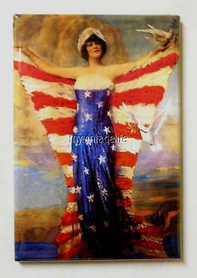 "Vintage Lady of Liberty Patriotic American Flag  2"" x 3"" Fridge MAGNET"