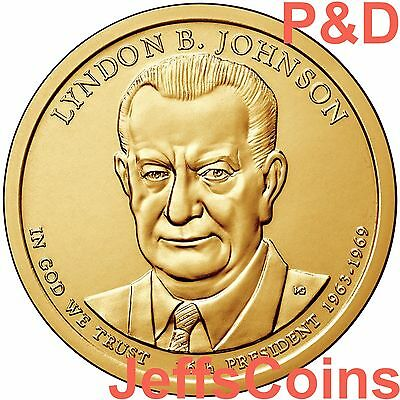2015 P&D Lyndon B Johnson Presidential Golden Dollars Best Price PD 2 Coins LBJ