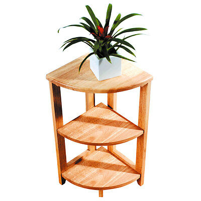 3 Tier Solid Wood Corner Unit Side Coffee Table Shelf Tropical Heavy Wood