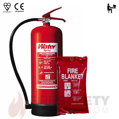 New 9L Water Fire Extinguisher + 1M Fire Blanket