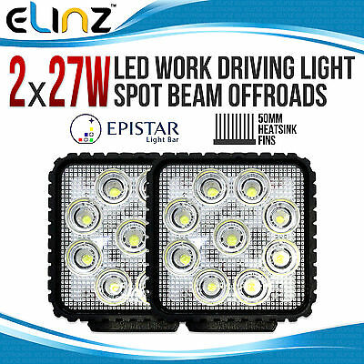 2 x 27W LED SPOT Beam Driving WorkLight 12V 24V Square Truck Lamp Light 4WD 4X4