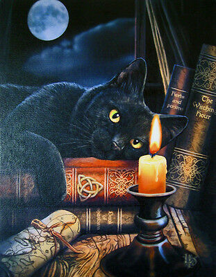 """Witching Hour Cat Canvas Art Print By Lisa Parker 10""""h  By 7.5""""w  Wp347As"""