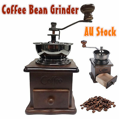 Manual Coffee Bean Spice Nuts Grinder Hand Mill Ceramic Core Antique Style New