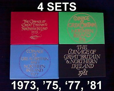 4 SETS - 1973, 1975, 1977, 1981 Coinage Of Great Britain & Northern Ireland L@@K