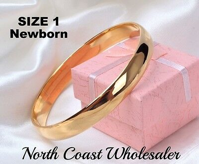 Newborn 0-9 months Baby Girls Childs Childrens 9ct Gold Filled Bangle Size 1