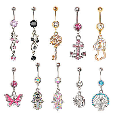 1Pc 14G Body Piercing Rhinestone Belly Bars Crystal Dangly Button Ring Hot