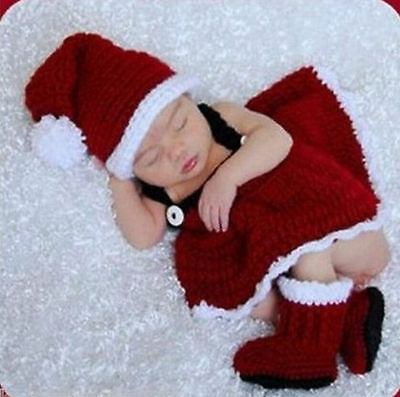 Newborn Baby Christmas Santa Knitted Crochet Costume Photo Photography Prop girl