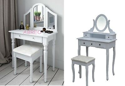 Shabby Chic White Black Grey Dressing Table Makeup Table Dresser Mirror Stool