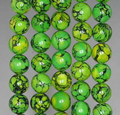 """10Mm Green Turquoise Gemstone Lime Round 10Mm Loose Beads 16"""""""