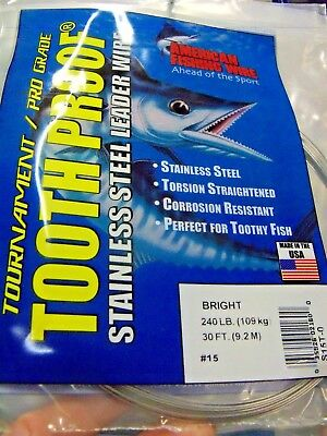 """LEADER WIRE #3 AFW TOOTH PROOF STAINLESS STEEL 32 LB 30' -.Diam .012"""", .30mm"""