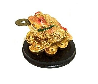 Feng Shui Chinese Golden Gold Happy LUCKY money frog with base LUCK