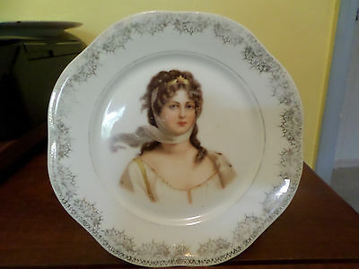 """Vintage 7 1/2"""" white plate with a woman on it"""