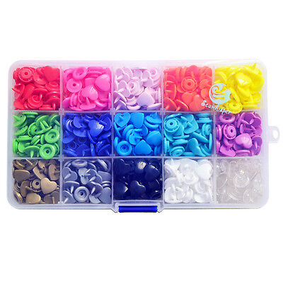KAM 178 Sets 15 Colours 12mm Love Heart T5 Snaps Sewing Buttons Resin Fasteners