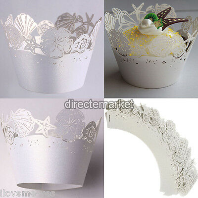 12Set White Starfish Shell Cupcake Wrappers Wraps Collars Wedding Birthday Party