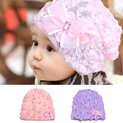 Baby Girls Flower Kids Bonnet Hat Cap Beanie Toddler Headdress Hair Accessories