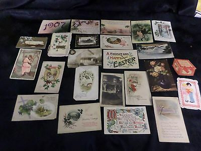 Lot of 24 Vintage Antique Post Cards Early 1900's Romantic, Holiday
