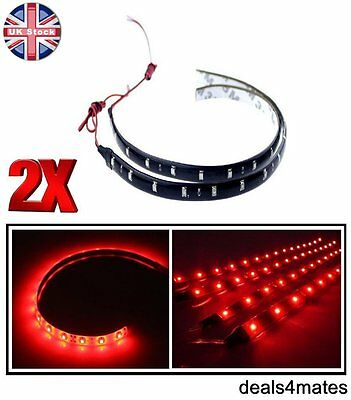 2 X Waterproof 30 Cm 3528 Smd Red 15 Led Flexible Drl Strip Light Lamp Car Home