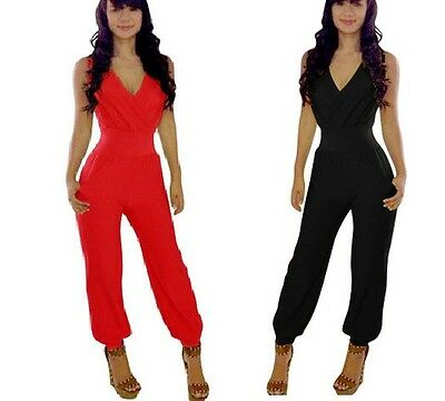 Women V Neck Long Trouser Sleeveless Bodycon Party Club Playsuit Jumpsuit