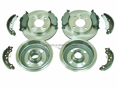 Ford Ka 1.3 2000-2007 Front 2 Brake Discs & Pads Rear 2 Drums And Shoes Set New