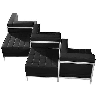 5 Piece Lounge Set with Black Leather Corner Chair Set - Reception Furniture