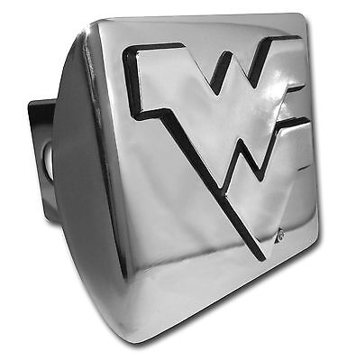 """West Virginia Mountaineers Shiny Metal Hitch Cover (""""WV"""") NCAA Licensed"""