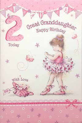 Great Granddaughter Age 2 2nd Birthday Card Special Verse Beautiful Detail