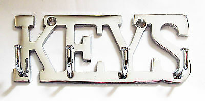 KEYS Chrome Finish Brass Metal Key Hooks Holder Door Wall Hanger Rail Hook