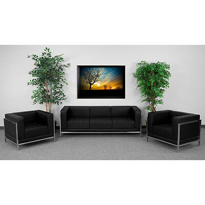Lounge Set with Black Leather Sofa & Chair Set  - Reception Furniture Set