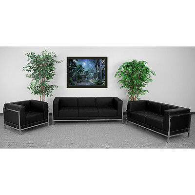 Guest Seating Set w/Black Leather 3 Piece Sofa Lounge Set - Reception Furniture
